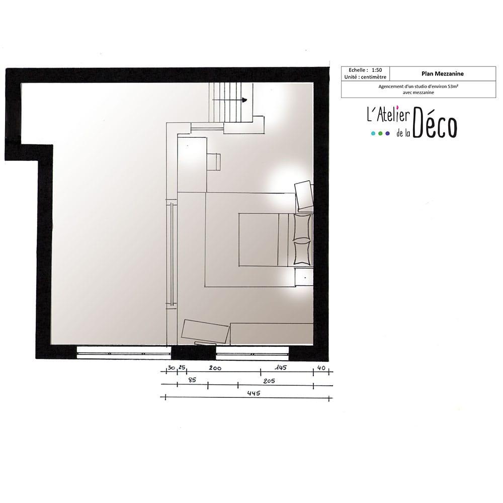 stunning plan de studio avec mezzanine pictures doztopo. Black Bedroom Furniture Sets. Home Design Ideas